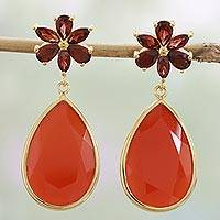 Gold plated garnet and onyx dangle earrings, 'Deep Red Flowers' - Garnet and Onyx Gold Plated Dangle Earrings from India