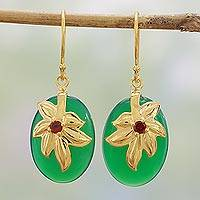 Gold plated garnet and onyx dangle earrings, 'Golden Green Leaves' - Gold Plated Garnet and Onyx Dangle Earrings from India
