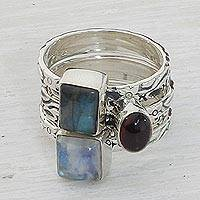 Multi-gemstone stacking rings, 'Appealing Shapes' (set of 5) - Garnet Labradorite Stacking Rings (Set of 5) from India