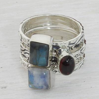 silver ring chain maintenance motorcycle - Garnet Labradorite Stacking Rings (Set of 5) from India