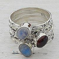 Garnet and rainbow moonstone stacking rings, 'Glowing Skies' (set of 5) - Garnet and Rainbow Moonstone Stacking Rings (Set of 5) India