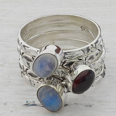Garnet and Rainbow Moonstone Stacking Rings (Set of 5 ...