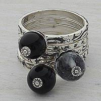 Onyx and quartz stacking rings, 'Nighttime Ecstasy' (set of 5) - Quartz and Onyx Stacking Rings (Set of 5) from India