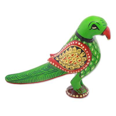 Wood figurine, 'Proud Parrot' - Hand Carved Multicolored Wood Parrot Figurine from India