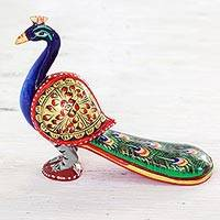 Wood figurine, 'Posturing Peacock' - Hand Carved Multicolored Peacock Figurine from India