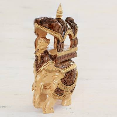 Wood sculpture, 'Majestic Ride' - Hand Carved Elephant Palanquin Sculpture from India