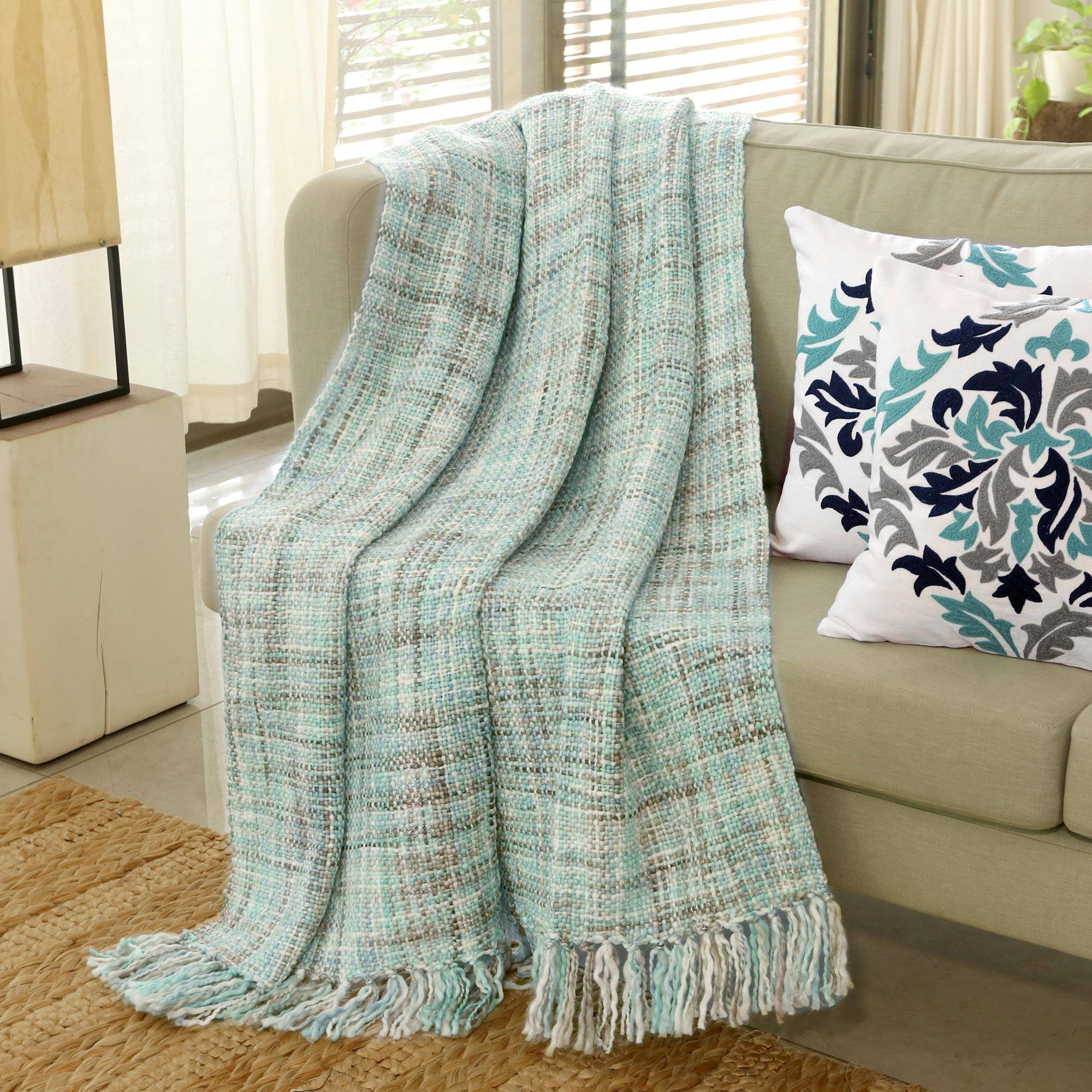 Pastel Green Throw Blanket With Fringes From India Mint Beauty