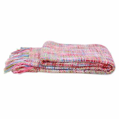 Throw, 'Vibrant Pastel' - Multicolored Throw Blanket with Fringes from India