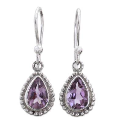 Amethyst and Sterling Silver Dangle Earrings from India