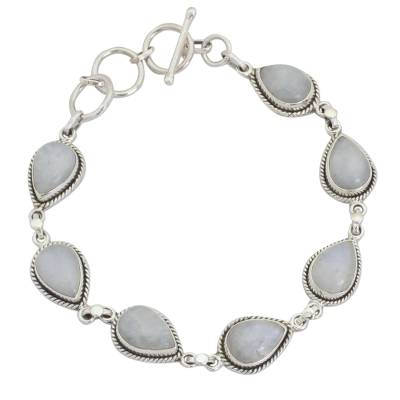 Indian Rainbow Moonstone and Sterling Silver Link Bracelet