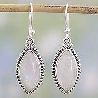 Rainbow moonstone dangle earrings, 'Rainbow Windows' - Indian Rainbow Moonstone and Sterling Silver Dangle Earrings