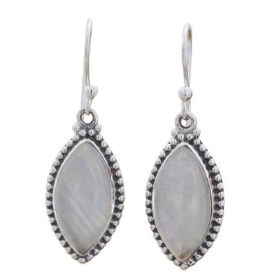 Indian Rainbow Moonstone and Sterling Silver Dangle Earrings