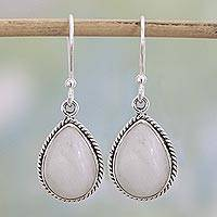 Rainbow moonstone dangle earrings, 'Rainbow Morning' - Rainbow Moonstone Teardrop Dangle Earrings from India