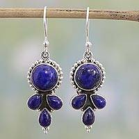 Lapis lazuli dangle earrings, 'Starry Fantasy' - Indian Lapis Lazuli and Sterling Silver Dangle Earrings