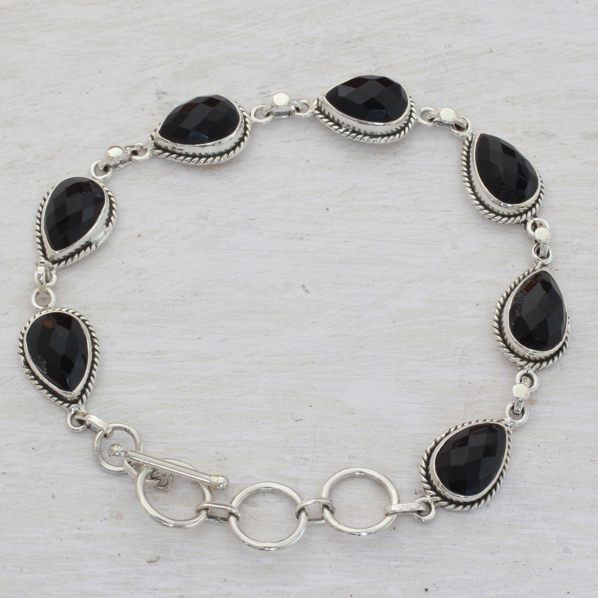 771d2bd44 Black Onyx and Sterling Silver Link Bracelet from India,
