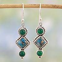Onyx dangle earrings, 'Wholesome Earth' - Green Onyx and Turquoise Dangle Earrings from India