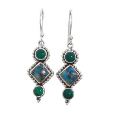Green Onyx and Turquoise Dangle Earrings from India