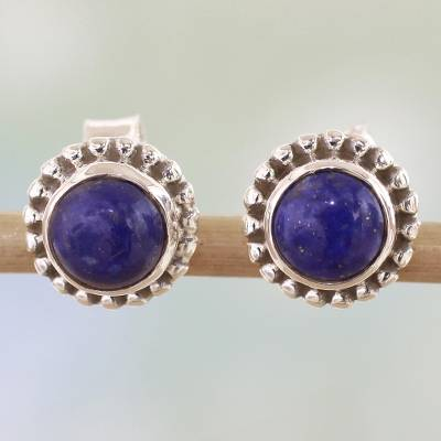 Round Lapis Lazuli Stud Earrings in Silver