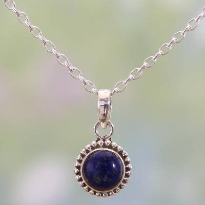 Lapis lazuli pendant necklace, 'Blue Globe' - Lapiz Lazuli and Sterling Silver Pendant Necklace from India