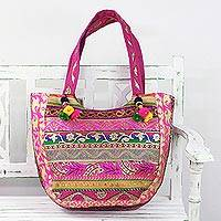 Polyester tote handbag, 'Floral Satisfaction' - Embroidered Polyester Floral Tote Handbag from India