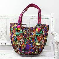Tote handbag, 'Cycle of Generations' - Printed Tote Handbag with Portraits from India