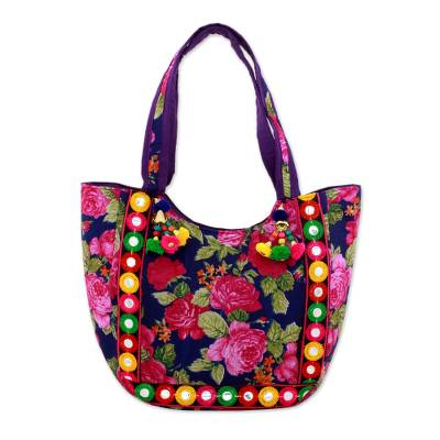 Novica Embroidered tote handbag, Rosy Garden