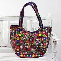Embroidered tote handbag, 'Many Expressions' - Tote Handbag with Portraits from India