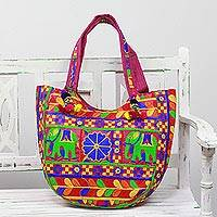 Embroidered tote handbag, 'Elephant Flower in Fuchsia' - Multicolored Embroidered Tote Handbag from India
