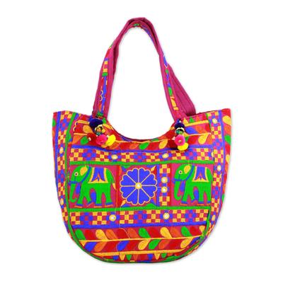 Novica Embroidered tote handbag, Elephant Flower in Blue-Violet