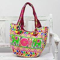 Embroidered tote handbag, 'Elephant Flower in Eggshell' - Floral Elephant Embroidered Tote Handbag from India