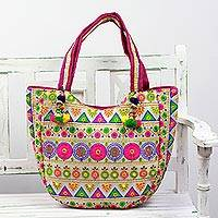 Embroidered tote handbag, 'Floral View' - Floral Embroidered Tote Handbag from India