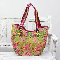 Embroidered tote handbag, 'Paisley Flowers in Beige' - Embroidered Paisley Tote Handbag from India