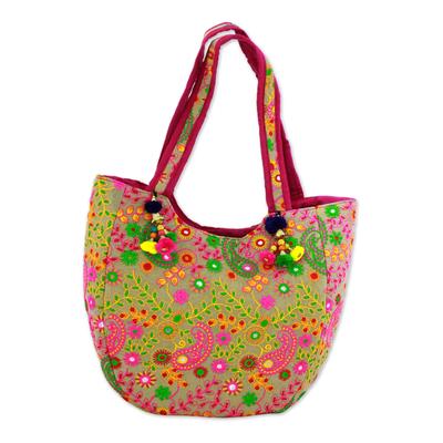 Novica Embroidered tote handbag, Garden of Elephants in Beige