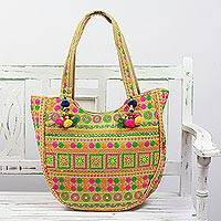 Embroidered tote handbag, 'Spiraling Floral' - Floral Spiral Embroidered Tote Handbag from India