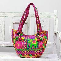 Embroidered tote handbag, 'Leisurely Elephant' - Multicolored Elephant Embroidered Tote Handbag from India