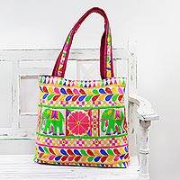 Embroidered tote handbag, 'Elephant Fantasies in Eggshell' - Colorful Elephant Embroidered Tote Handbag from India
