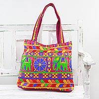 Embroidered tote handbag, 'Elephant Fantasies in Magenta' - Tote Handbag with Floral and Elephant Motifs from India