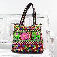 Embroidered tote handbag, 'Elephant Fantasies in Black' - Multicolored Tote with Floral Elephant Motifs from India