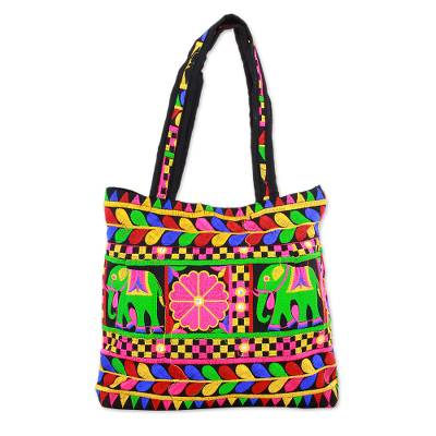 Novica Polyester sling bag, Yellow Floral Fantasy