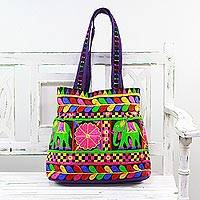 Embroidered tote handbag, 'Elephant Fantasies in Iris' - Embroidered Tote with Floral Elephant Motifs from India