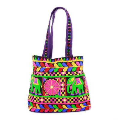 Embroidered Tote with Floral Elephant Motifs from India