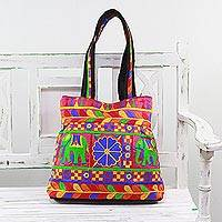 Embroidered tote handbag, 'Garden of Elephants in Magenta' - Rayon Embroidered Elephant Tote Handbag from India