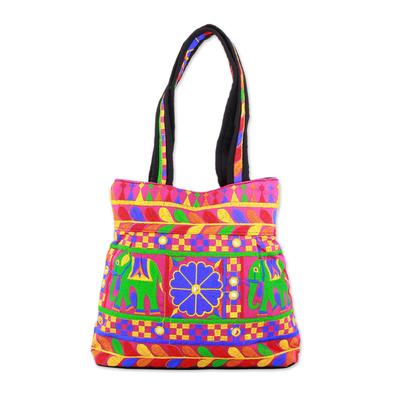 Novica Embroidered tote handbag, Garden of Elephants in Magenta