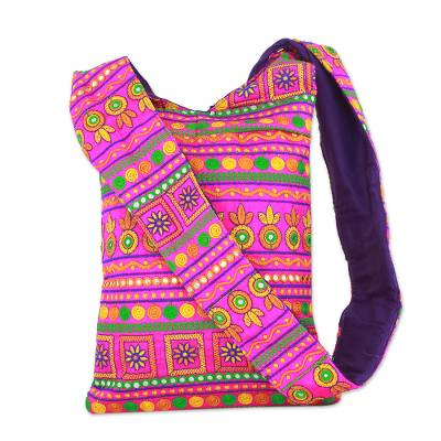 Bubblegum Pink Embroidered Sling Bag India Accessories
