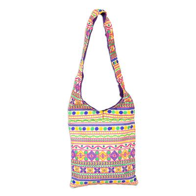 Novica Polyester sling bag, Floral Fantasy