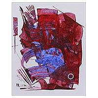 'Union III' - Original Red and Blue Expressionist Painting from India