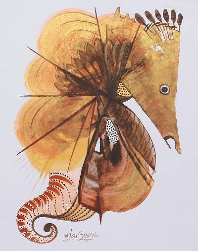 'The Water World' - Brown Cubist Painting of a Seahorse from India
