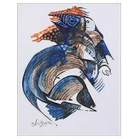 'Swiftness' - Blue Cubist Painting of Horses from India