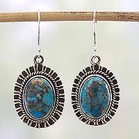 Sterling silver dangle earrings, 'Phenomenal Blue'