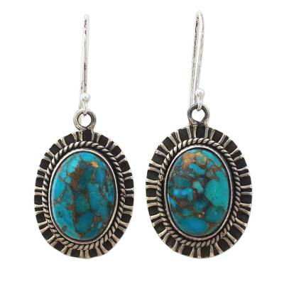 Sterling silver dangle earrings, 'Phenomenal Blue' - 925 Silver Hook Earrings with Blue Composite Turquoise